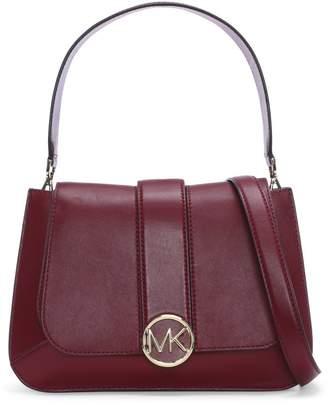 Michael Kors Medium Lillie Maroon Leather Flapover Satchel Bag