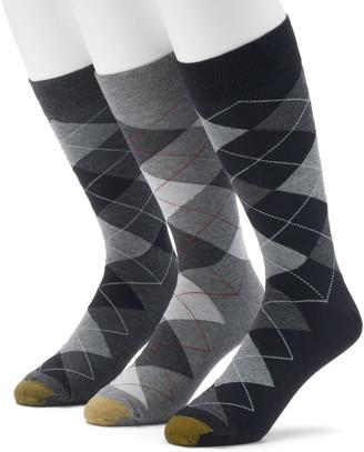 Gold Toe Goldtoe Men's Extended Length GOLDTOE 3-pack Carlyle Argyle Dress Socks