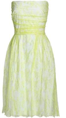 Valentino Strapless Ruched Silk Corded Lace Dress