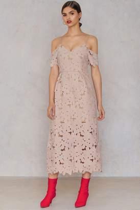Na Kd Boho Cold Shoulder Crochet Midi Dress
