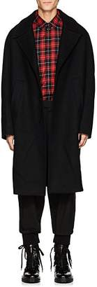 Neil Barrett Men's Brushed Wool-Blend Melton Cocoon Topcoat - Black