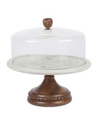 GG Collection G G Collection Marble, Wood & Glass Cake Pedestal