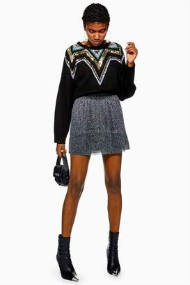 Topshop Metallic Plisse Mini Skirt