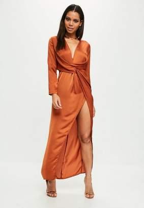 Missguided Orange plunge wrap front maxi dress