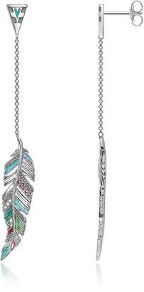 Thomas Sabo Blackened Sterling Silver, Enamel and Glass-ceramic Stones Feathers Long Earrings