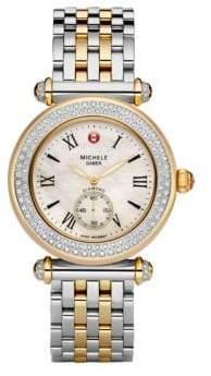 Michele Caber Diamond Two-Tone Bracelet Watch