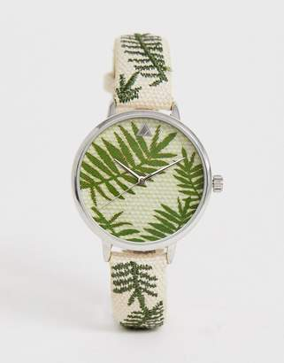 Asos Design DESIGN Embroidered Palm Leaf Woven Watch