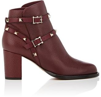 Valentino Women's Rockstud Double-Strap Boots-BURGUNDY $1,375 thestylecure.com