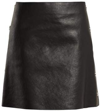 Sonia Rykiel Crackled Leather Mini Skirt - Womens - Black