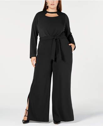NY Collection Plus & Petite Plus Size Cutout Wide-Leg Jumpsuit