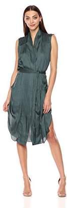 Halston Women's Sleeveless Tie Waist Shirt Dress with Pockets