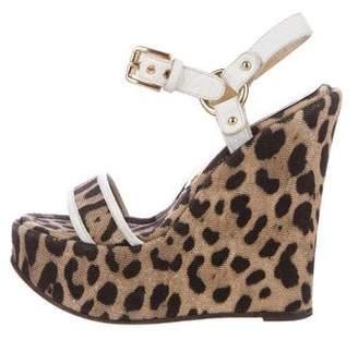 Dolce & Gabbana Printed Wedge Sandals
