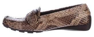 Stuart Weitzman Snakeskin Square-Toe Loafers