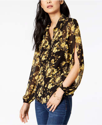 INC International Concepts I.N.C. Floral-Print Split-Sleeve Top, Created for Macy's