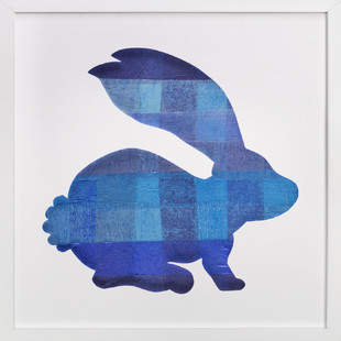 Blue Party Bunny Self-Launch Children's Art Print