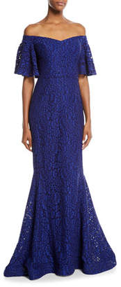 Rickie Freeman For Teri Jon Off-the-Shoulder Lace Mermaid Gown