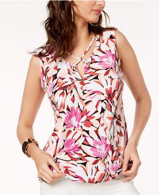 Thalia Sodi Floral-Print Lattice-Neck Top, Created for Macy's