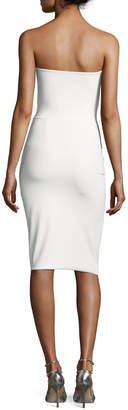 Chiara Boni Clotilde Strapless Draped-Side Cocktail Dress