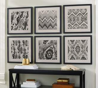 Pottery Barn Gray Ikat Framed Prints