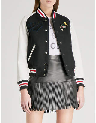 Zadig & Voltaire Birdie wool-blend and leather bomber jacket