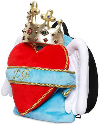 Dolce & Gabbana Heart Wings Velvet Backpack