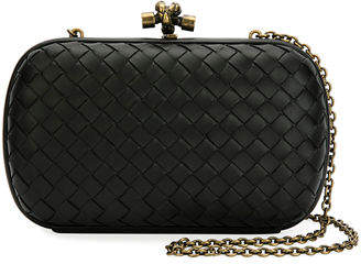 Bottega Veneta Leather Woven Knot Box Clutch Bag