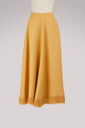 Nina Ricci Long fringed skirt