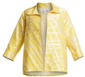 Caroline Rose Citrus Jacquard A-Line Jacket