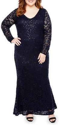 BLU SAGE Blu Sage Long Sleeve V Front Lace Dress - Plus