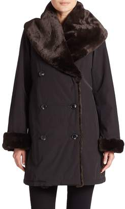 Jane Post Women's Faux Fur Shawl-Collar Coat