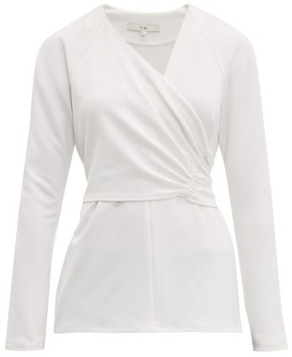 Tibi V Neck Crepe Wrap Top - Womens - White