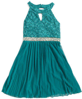 Big Girls Jeweled Halter Special Occasion Dress