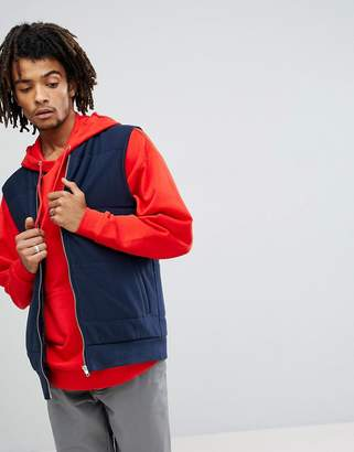 Asos Design Quilted Puffer Gilet In Navy