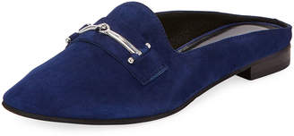 Charles David Melody Suede Flat Loafer Mule w/ Bit Detail, Navy