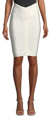 Herve Leger Bandage-Knit Above-the-Knee Body-Con Skirt