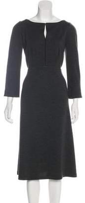 Lafayette 148 Wool Long Sleeve Midi Dress