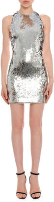 Versace High-Neck Sleeveless Sequined Mini Cocktail Dress