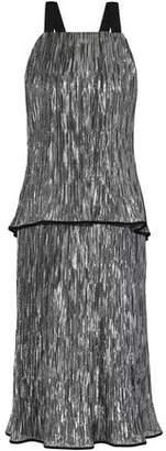 Jason Wu Open-Back Layered Crinkled Silk-Blend Lamé Midi Dress