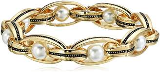 Laundry by Shelli Segal Faux Pearl Link Stretch Bracelet