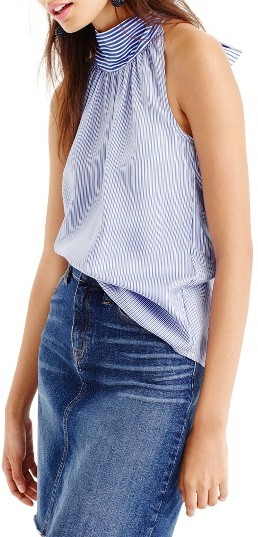 Women's J.crew Stripe Silk Tie Neck Top