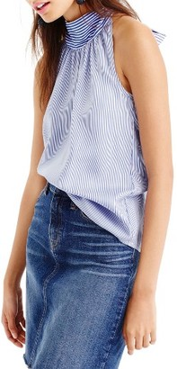 Women's J.crew Stripe Silk Tie Neck Top $88 thestylecure.com
