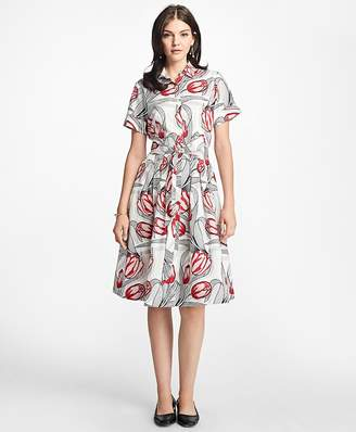 Tulip-Print Cotton Sateen Shirtdress $228 thestylecure.com