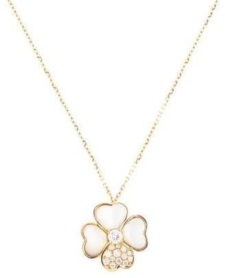 Van Cleef & Arpels 18K Mother of Pearl & Diamond Cosmos Clip Pendant, Medium Model