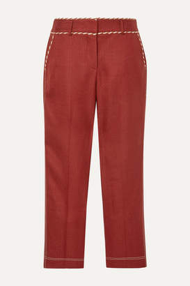 Peter Pilotto Braid-trimmed Woven Straight-leg Pants - Claret