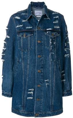 Couture Forte Dei Marmi long distressed denim jacket