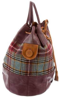 Philosophy di Alberta Ferretti Leather-Trim Plaid Backpack
