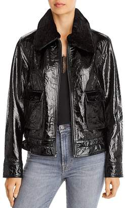 7 For All Mankind Faux Fur Trimmed Patent Leather Jacket