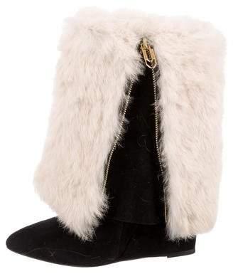 Jerome Dreyfuss Biboots Fur Wedge Boots w/ Tags