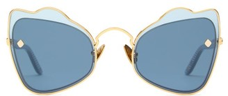 Atelier Moy Odyssey Cat Eye Gold Plated Sunglasses - Womens - Blue