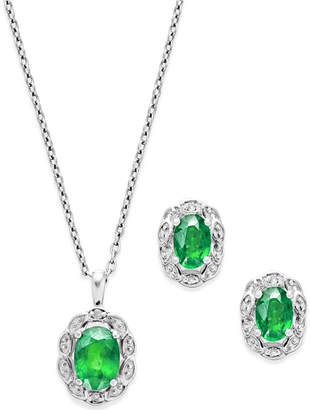 Macy's Emerald (2 ct. t.w.) and Diamond Accent Jewelry Set in Sterling Silver